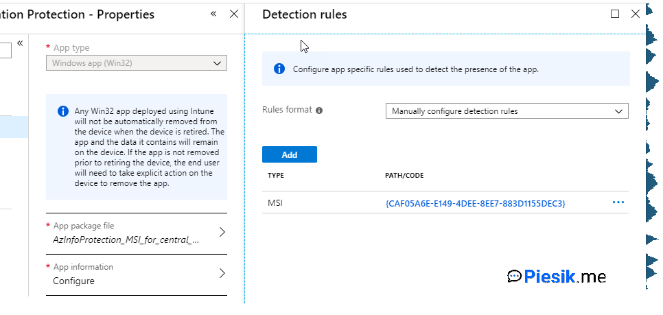 Deploy Azure Information Protection as Win32App on Intune