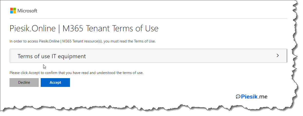 """Microsoft Intune - Terms of use"""