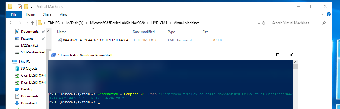 PowerShell - compare-vm command