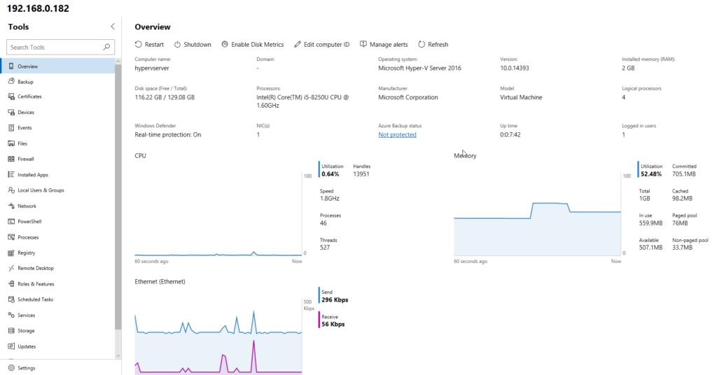 WAC + Hyper-V Server