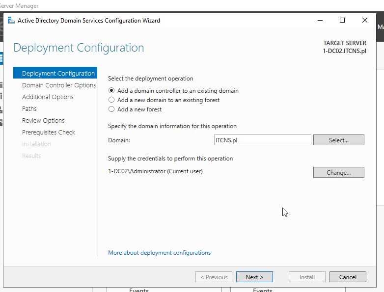 Windows Server 2019 – dodatkowy kontroler domeny